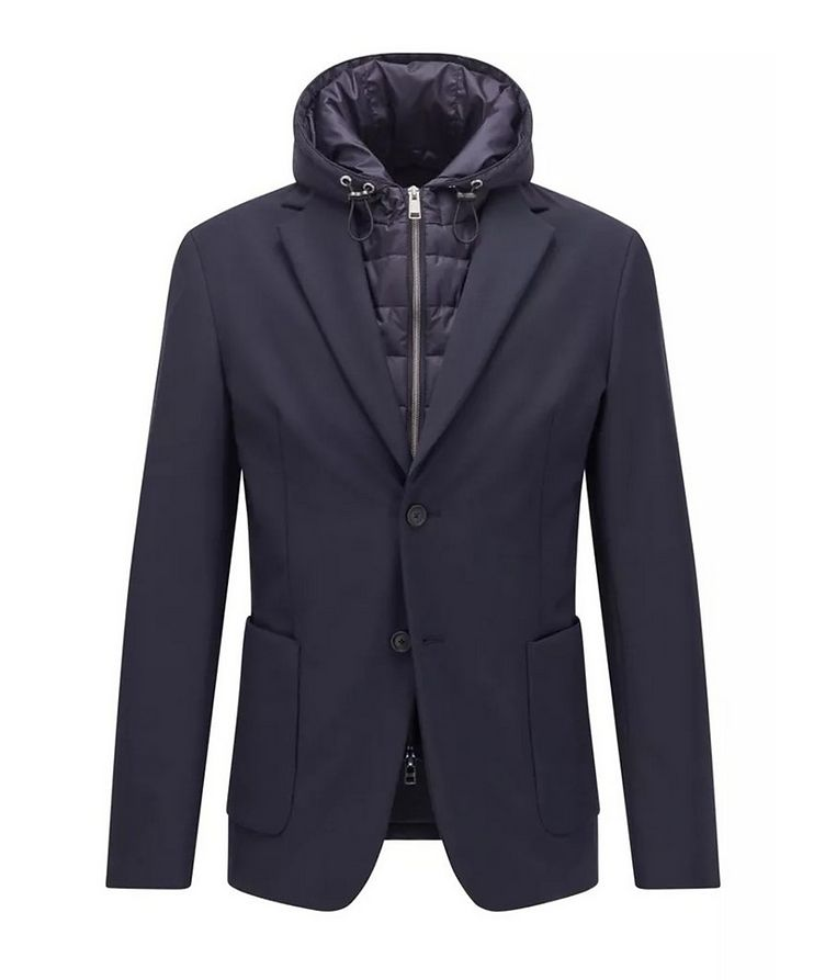 Hooded Padded Wool-Blend Sports Jacket image 0