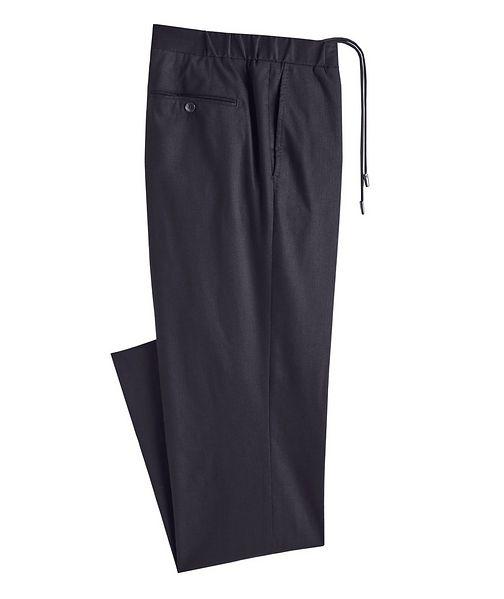 Atelier Munro Drawstring Stretch-Wool Dress Pants