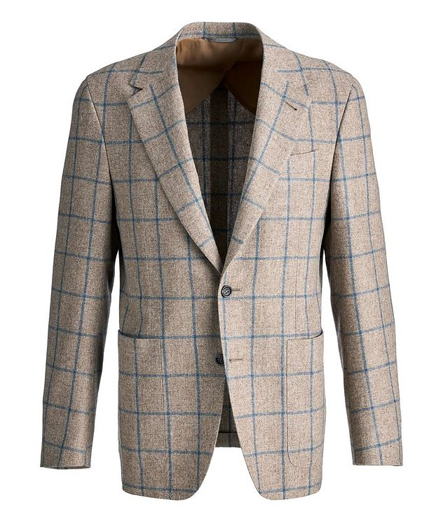 Slim Fit Windowpane Check Wool-Cashmere Sports Jacket picture 1