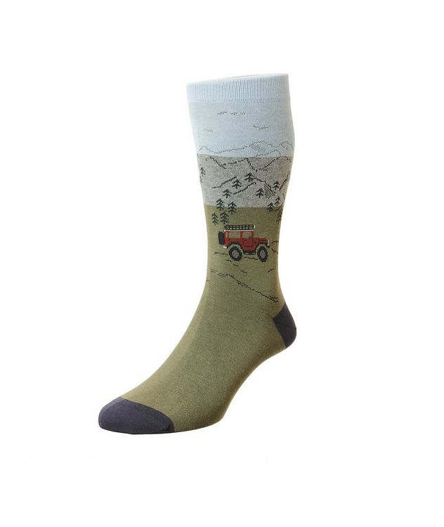 Mountain Scene Cotton-Blend Dress Socks picture 1