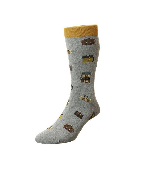 Luggage Cotton-Blend Dress Socks picture 1