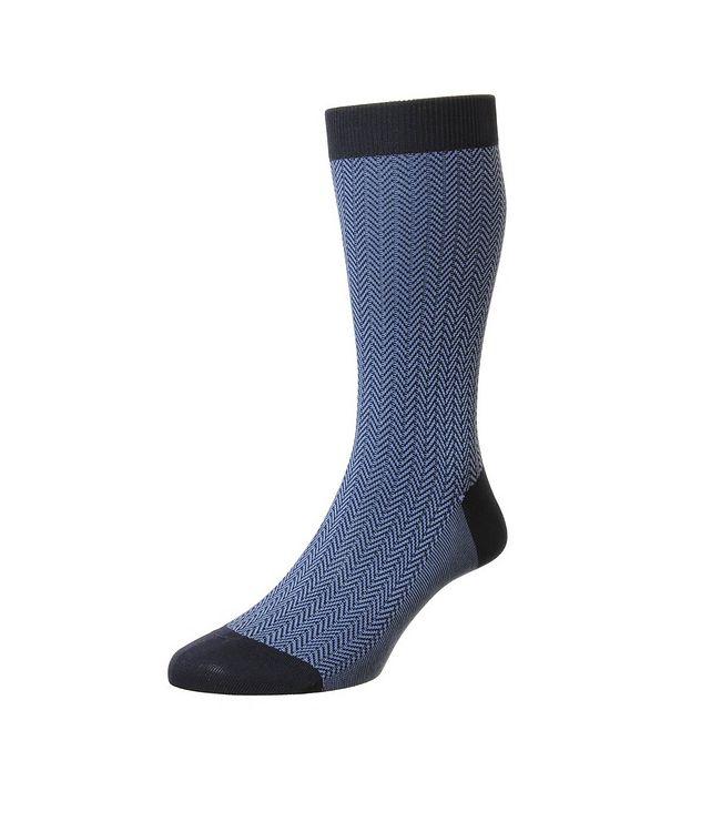 Fabian Herringbone Cotton-Blend Dress Socks picture 1