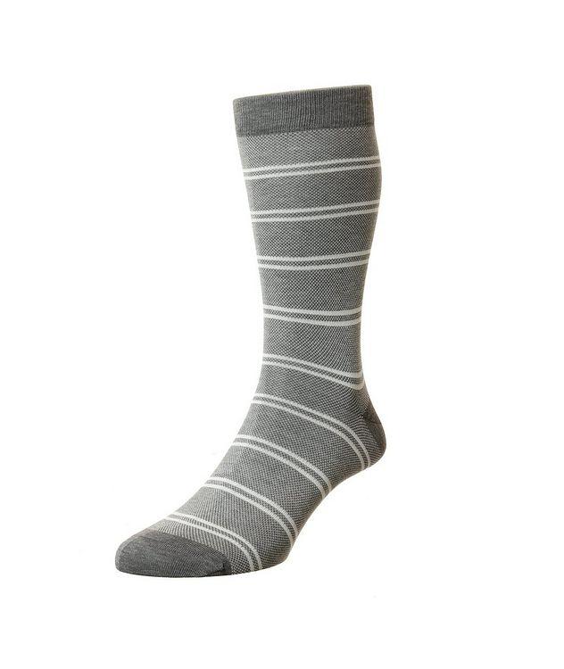 Striped Birdseye Cotton-Blend Dress Socks picture 1