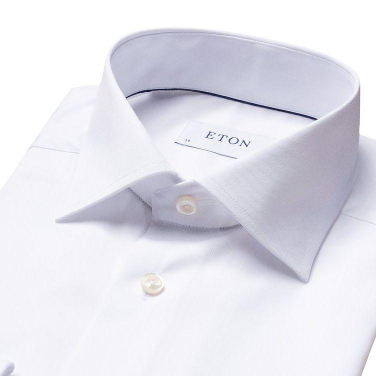 Chemise habillée en twill aux poignets français de coupe contemporaine image 4