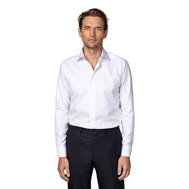 Slim Fit Diagonal Weave Dress Shirt picture 2