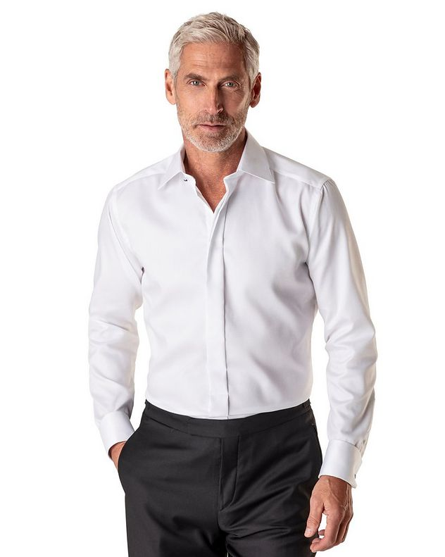 Contemporary Fit Diamond Weave Tuxedo Shirt  picture 2