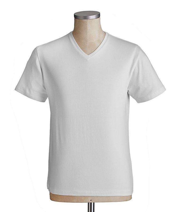 T-shirt extensible à encolure en V image 1