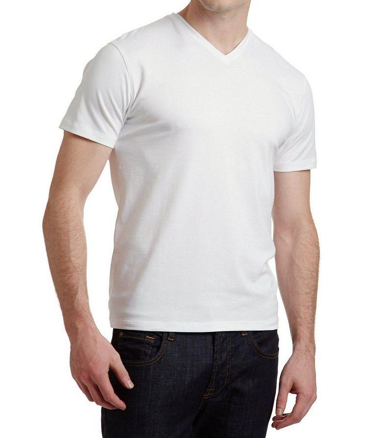 T-shirt extensible à encolure en V image 0