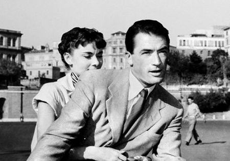 Audrey Hepburn and Gregory Peck in film Roman Holiday