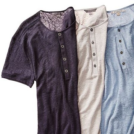 Three henley shirts in navy grey and blue