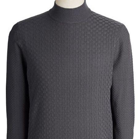 Textured grey mockneck knit