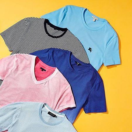 Crewneck and v-neck t-shirts