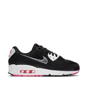 Nike Air Max 90 Black Metallic Silver White Pink Blast Women S