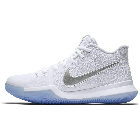 premium selection de659 f69f6 Nike Kyrie 3 White/Chrome Men's Basketball Shoe - Hibbett ...