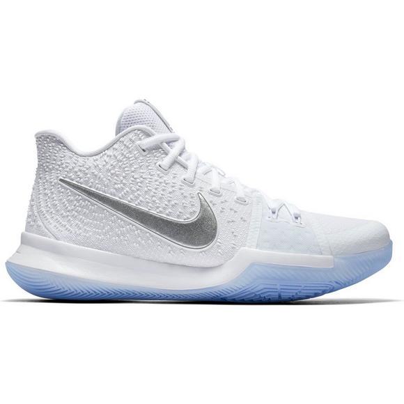 the best attitude cc092 9fdba Nike Kyrie 3 White/Chrome Men's Basketball Shoe - Hibbett US