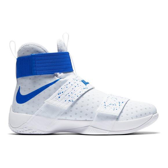 on sale dcb7d 6271f Nike LeBron Soldier 10 White Men's Basketball Shoe - Hibbett US