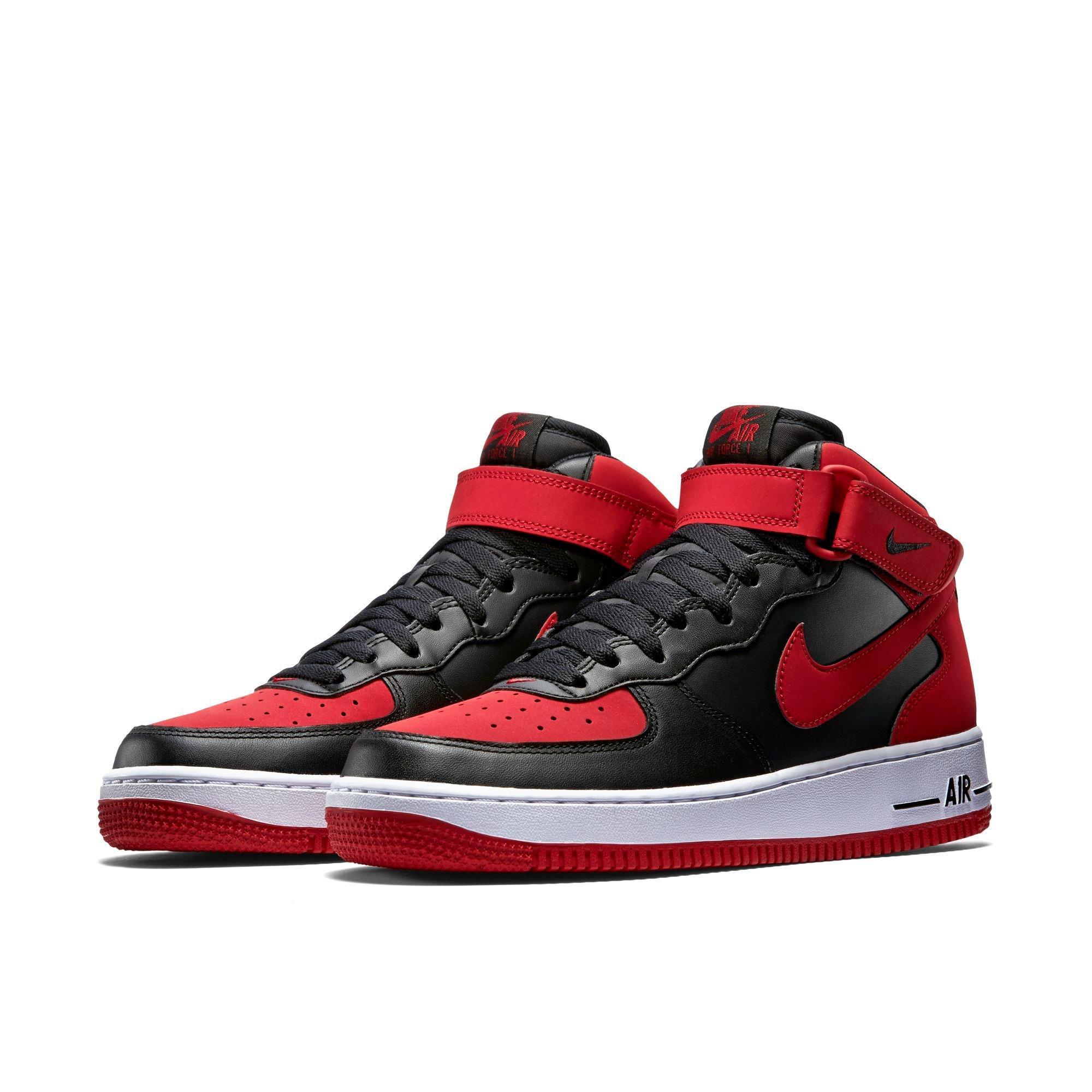 Nike Air Force 1 Mi Hommes Noir / Rouge Chaussures De Basket-ball