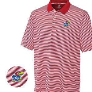 14b6ae2b4f0f Cutter & Buck Men's Kansas Jayhawks Big & Tall DryTec Trevor Stripe Shirt