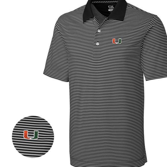 online retailer 3e807 5e8f9 Cutter & Buck Men's Miami Hurricanes Big & Tall DryTec Trevor Stripe Shirt