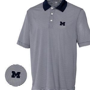 5ffa0b817 Cutter & Buck Men's Michigan Wolverines Big & Tall DryTec Trevor Stripe  Shirt