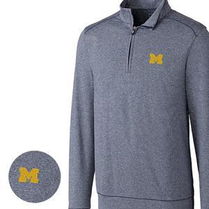 46814b670 Cutter & Buck Men's Michigan Wolverines Big & Tall Shoreline Halfzip Jacket