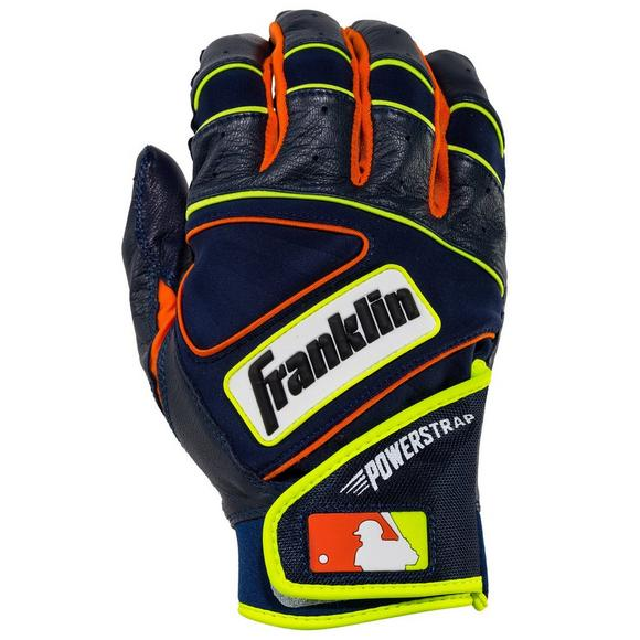 667941f24ef Franklin Adult Powerstrap Baseball Batting Gloves Navy Orange - Main  Container Image 1