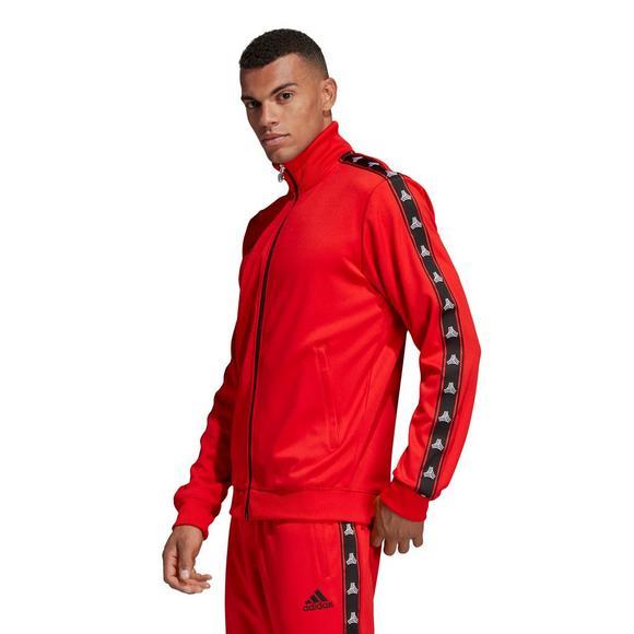60b04555ff adidas Men's Tan Tape Clubhouse Jacket - Red - Hibbett US