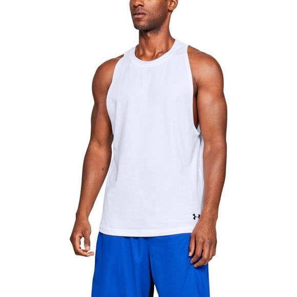 bb240fb915ba3 Under Armour Men s Baseline Cotton Basketball White Tank Top - Main  Container Image 1
