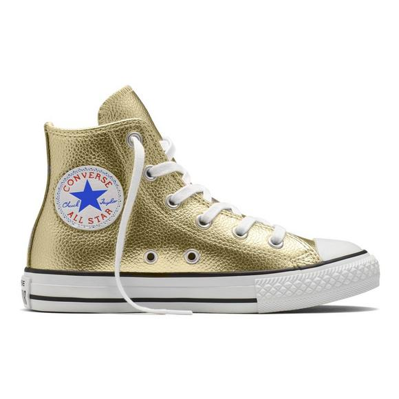 Converse All-Star Metallic Gold Preschool Girls' Casual Shoe