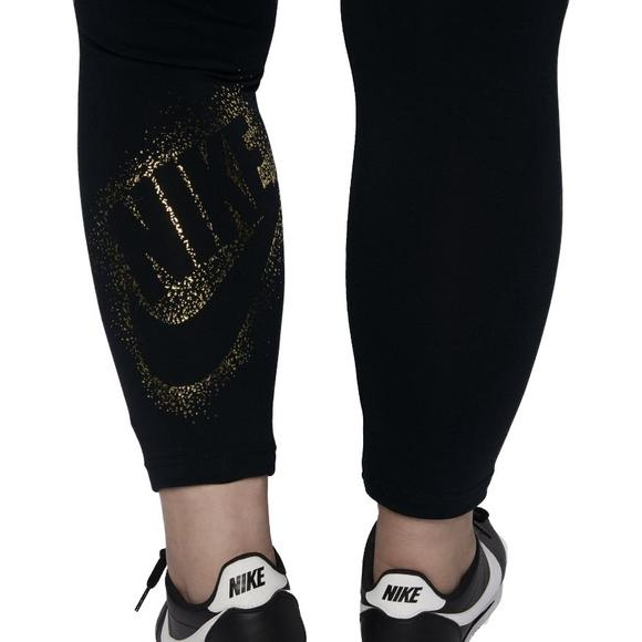 07ff18cd97845 Nike Women's Metallic Sportswear Leggings-Black/Gold - Main Container Image  4