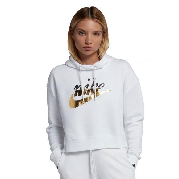 0f1955aa030 Nike Sportswear Women s Rally Metallic Hoodie - White - Main Container  Image 1