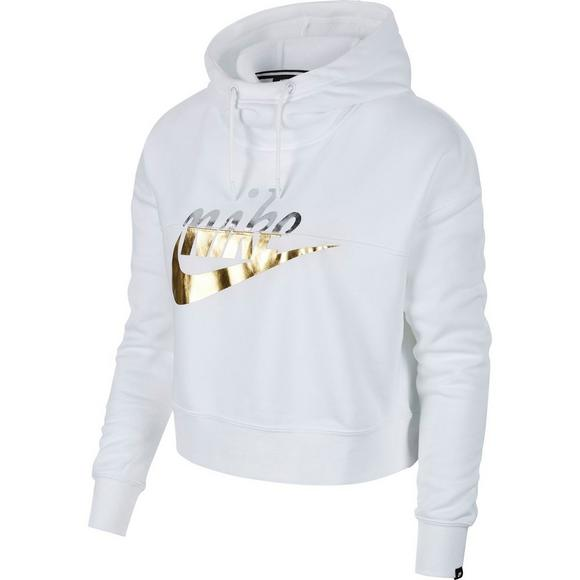 buy popular 6b9f4 1cc07 Nike Sportswear Women s Rally Metallic Hoodie - White - Main Container  Image 5