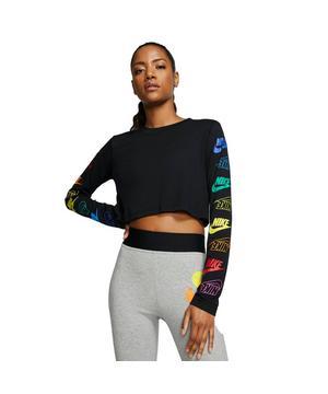 Nike LS Crop Pythn Top BlackWhite