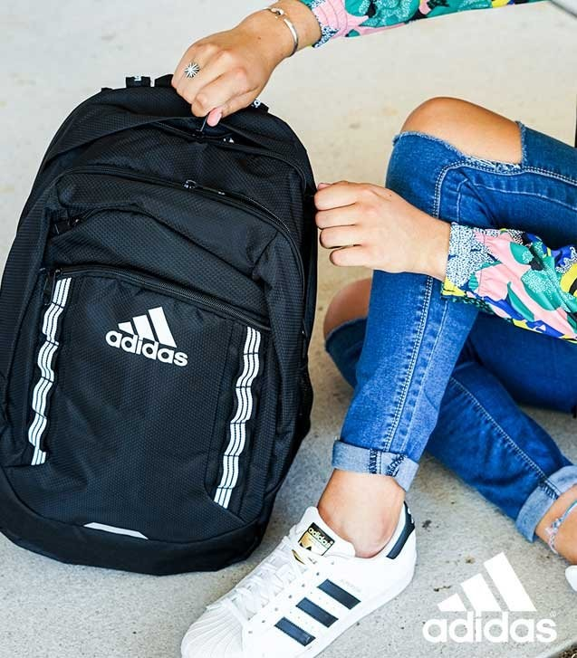 adidas Modular Backpack, adidas Superstar white/black Women's Shoe, and adidas Women's Originals Winbreaker