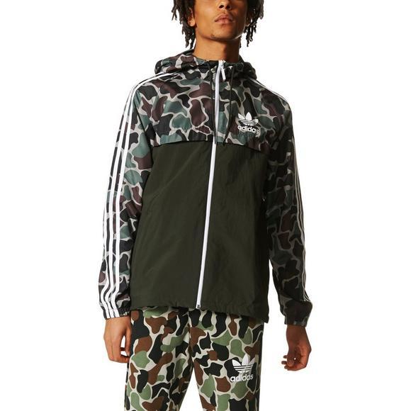 half price huge sale san francisco adidas Originals Men's Camouflage Windbreaker - Hibbett ...