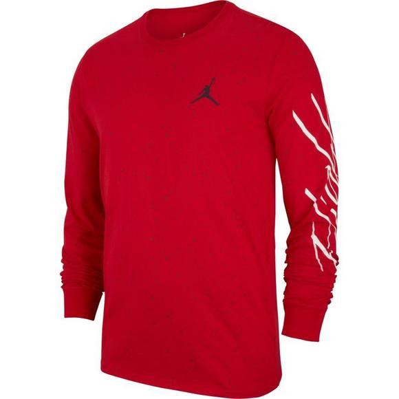 63d806cdd54 Jordan Men's Sportswear Flight Cement AOP Long-Sleeve Shirt -  Black/Red/White