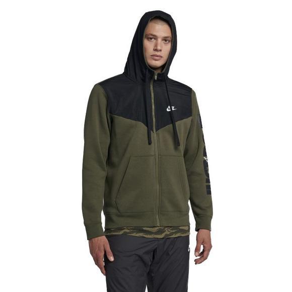 new authentic shop 2018 shoes Nike Men's Sportswear Full-Zip Fleece Hoodie-Olive - Hibbett ...