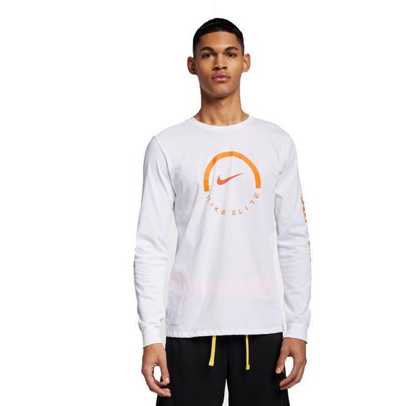 4aaf6010f Nike Men's Long-Sleeve White/Orange Basketball T-Shirt - Main Container  Image