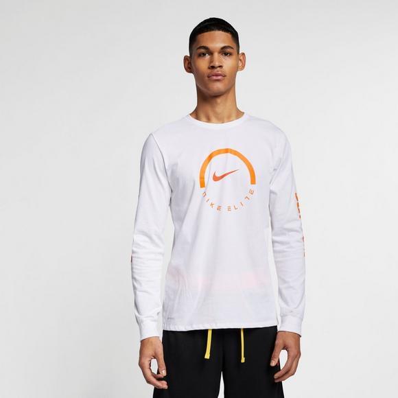 6e71fa84 Nike Men's Long-Sleeve White/Orange Basketball T-Shirt - Main Container  Image