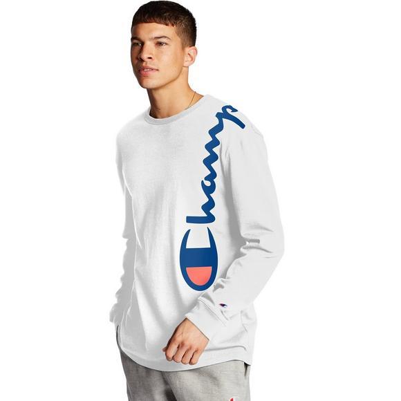 stabilna jakość kup tanio 100% autentyczności Champion Men's Shoulder Script Long Sleeve T-Shirt - White