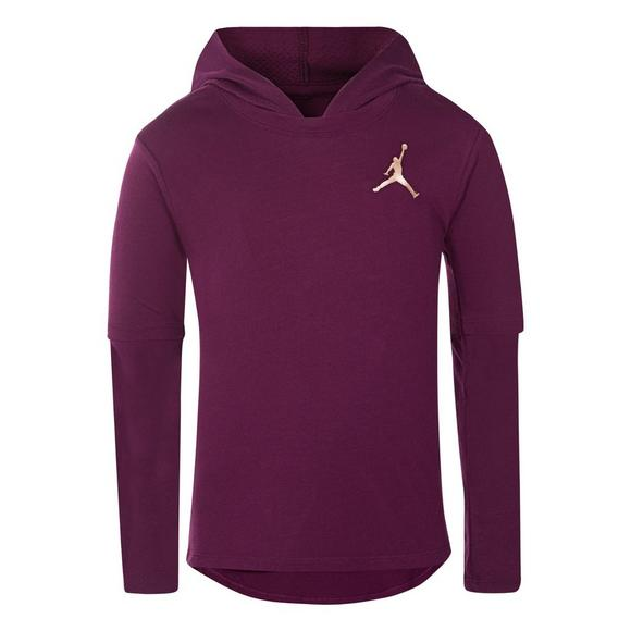 6a279e074a38f3 Jordan Girls  Bordeaux Hooded Shirt - Main Container Image 1