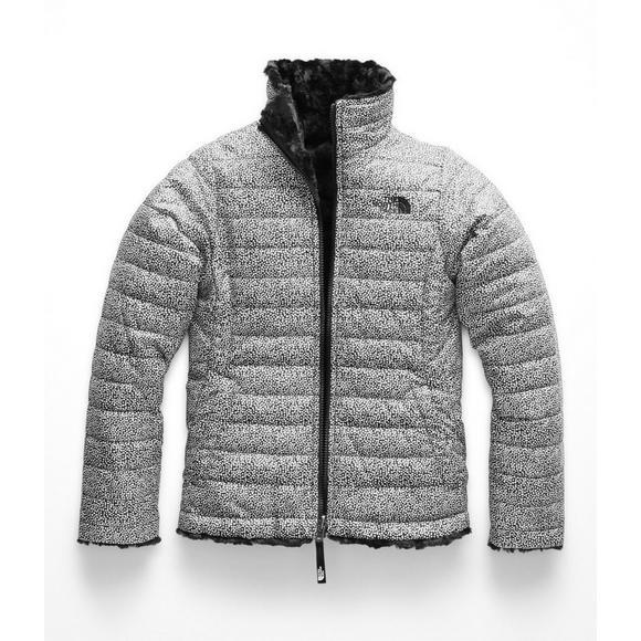 c5fa94393 The North Face Girls  Mossbud Swirl Jacket - Black White - Hibbett US