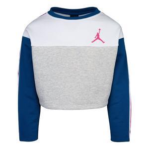 64091b775ca7 Jordan Girls  Taped Crew Grey Teal Sweatshirt
