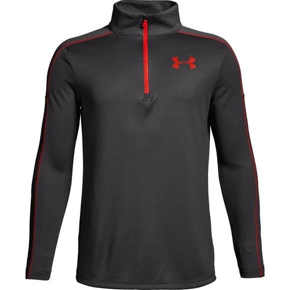 f70dffe7 Under Armour Kids' Tech 1/4 Zip Long Sleeve Shirt - Charcoal/Red ...