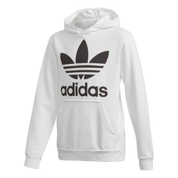 discount official store factory price adidas Boys' Trefoil Hoodie- White