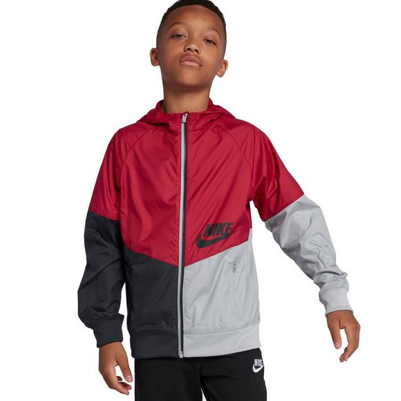 e406aa47db Nike Boys' Sportswear Windrunner Full-Zip Hoodie - Red/Black/Grey ...