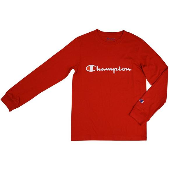 98b863e0695 Champion Boys  Heritage Long Sleeve T-Shirt - Scarlet - Main Container  Image 1