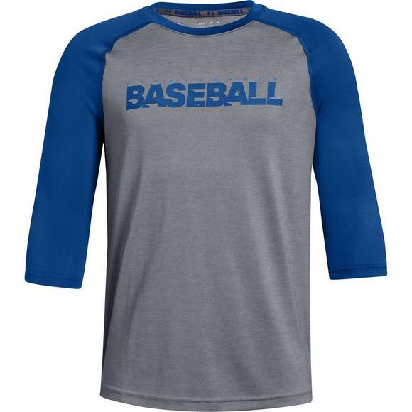 26010962dc Under Armour Boys' Baseball 3/4 White/Blue Tee