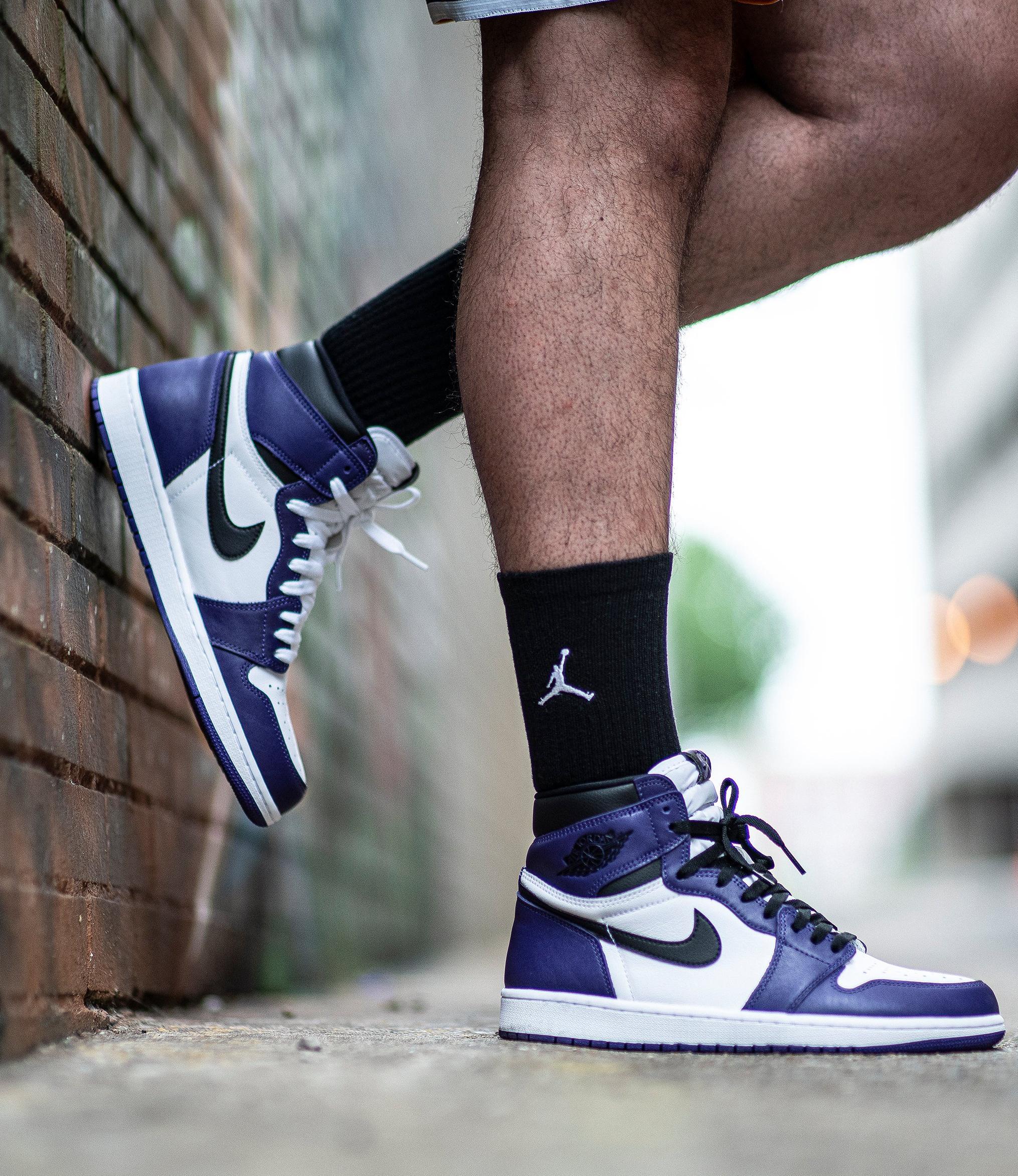 """Jordan 1 Retro High OG """"Court Purple/Black/White"""" Men's Shoe"""