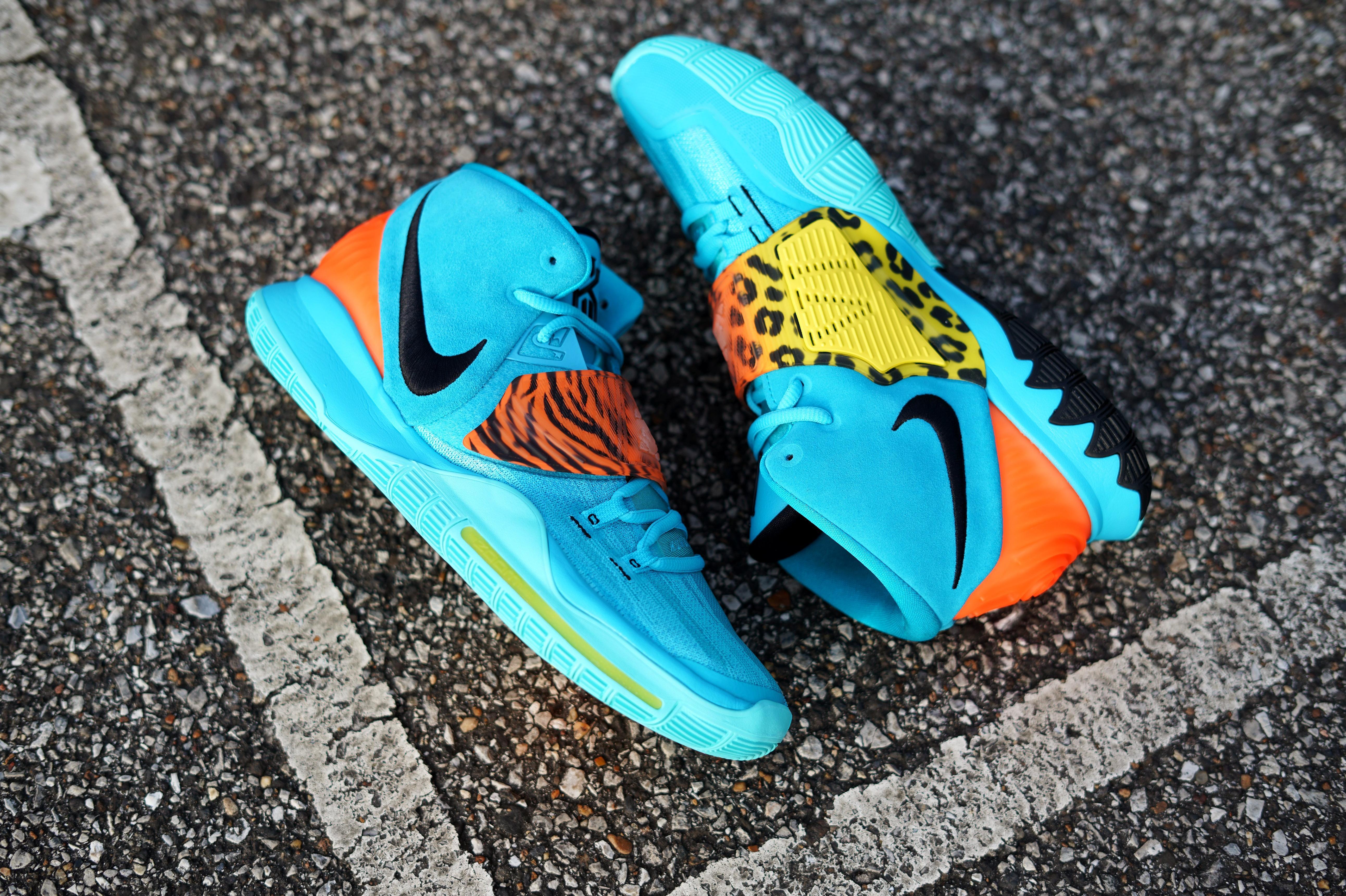 "Nike Kyrie 6 ""Oracle Aqua/Black/Opti Yellow"" Grade School Kids' Basketball Shoe"